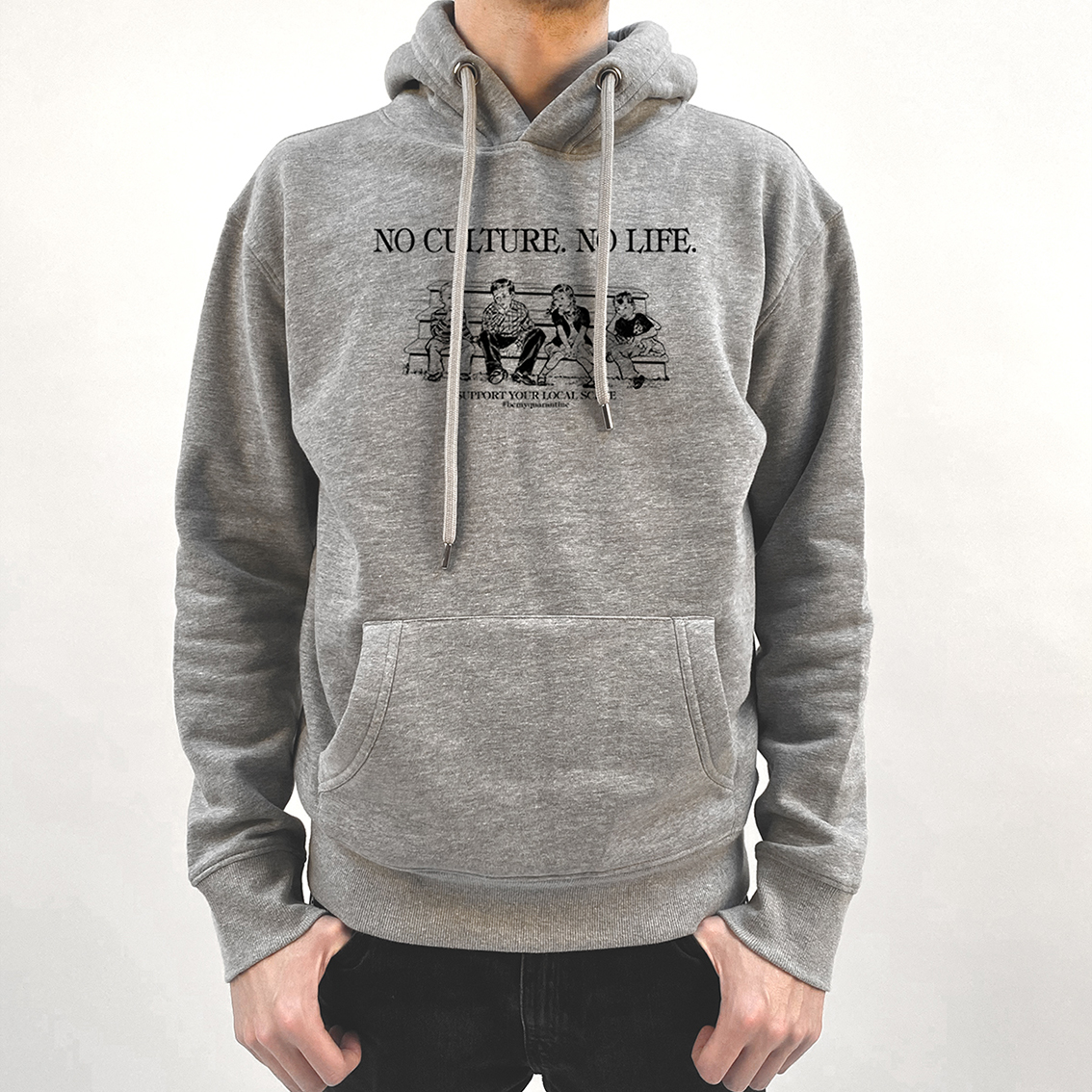 Tourhafen Be My Quarantine - No Culture, No Life Hoodie heather gray